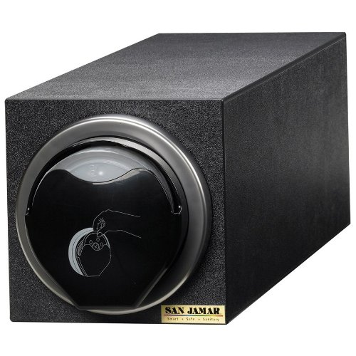 "San Jamar L2920Bk Polystyrene Ez-Fit Lid Dispenser Box System With L2400C In-Counter Lid Dispenser, 7-3/4"" Width X 7-3/4"" Height X 25-3/4"" Depth, Black"