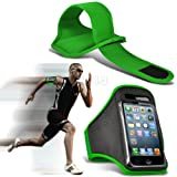 Green iPhone 5-5s-5c Running Armband Case Cover Holder for Cycling, Jogging, Fitness Training, Boot Camp, Exercise, Sports, Outdoor Activities, Gym Cases Covers and Accessories for New Apple iPhone 5-5s-5c by iChoose®