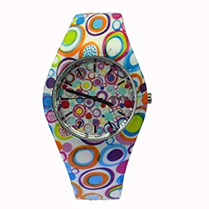 Style Gift Women Ladies Flower Print Rubber Unisex Quartz Watch SG1237-#10