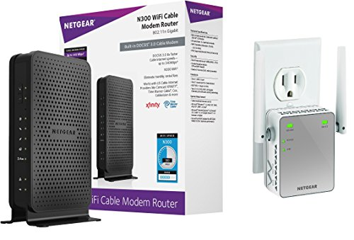 NETGEAR N300 Wi-Fi DOCSIS 3.0 Cable Modem Router (C3000) Bundle with N300 WiFi Range Extender, Essentials Edition (EX2700) (Netgear N300 Wifi Range Extender compare prices)