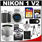 Nikon 1 V2 Digital Camera Body (White) with 10-100mm VR Lens + 32GB Card + Case + Tripod + 3 (UV/FLD/CPL) Filters + Remote + Accessory Kit