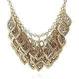 Yazilind Klassiker Wunderschöne Mehrschicht--Gold überzogene Blätter Kette Kragen Lätzchen Temperament Halskette
