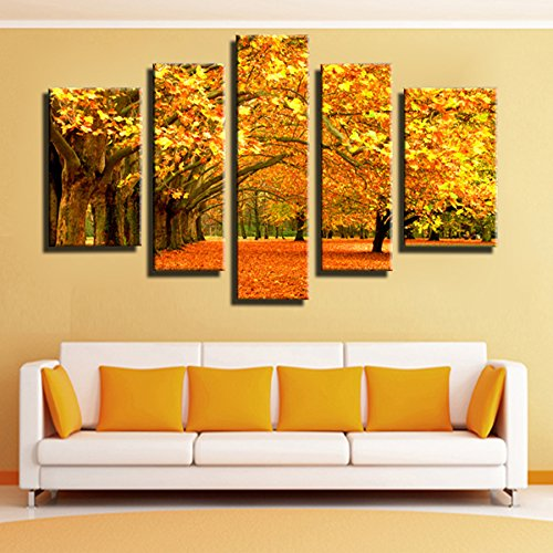 5 Panel Autumn Gold leaves Modular pictures Canvas Painting Wall Art Pictures Home Decor Living Room Print Painting SJ5583 (Modular Arts Wall Panels compare prices)