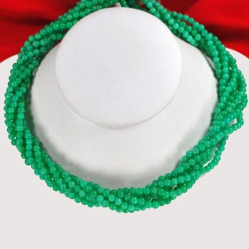 Multi-Strands Green Jade Silver Toggle Necklace N2_0711_05