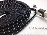 CablesFrLess (TM) 6ft Flat Braided Micro USB Charging / Data Sync Cable fits most Android Phones and Tablets Samsung Galaxy S3 S4 Reverb Note Tab Google Nexus Kindle Nokia Lumia HTC One ASUS LG G2 Pantech Blackberry Motorola Sony Xperia etc. (Black)