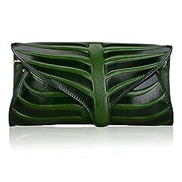 Pijushi Leaf Designer Handbags Embossed Leather Clutch Bag Cross Body Purses 22290 (One Size, Green)