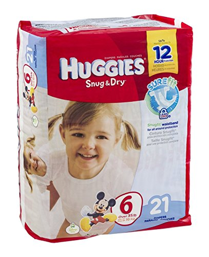 Huggies Diapers Snug & Dry Disney Size 6 (over 35 lb) 21 CT (Pack of 4) - 1