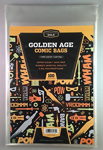100 CBG Golden Age Comic Bags - Archival Quality for protecting your Comic Books - 1