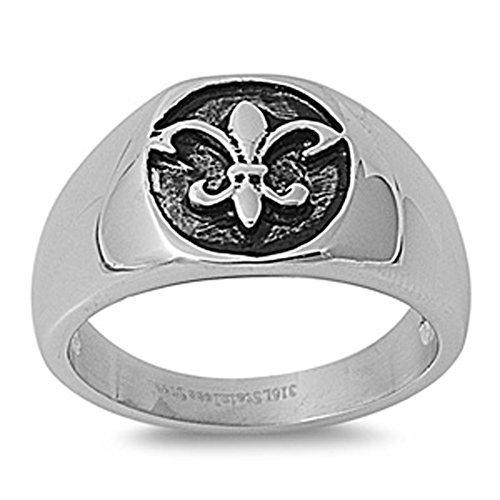 Fleur De Lis Ring Classic Polished Stainless Steel Comfort Fit Band New Usa 12Mm Size 10 Valentines Day Gift