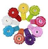 niceeshop(TM) Boutique Daisy Flower Elastic Headbands (9 Colors,Set of 9)