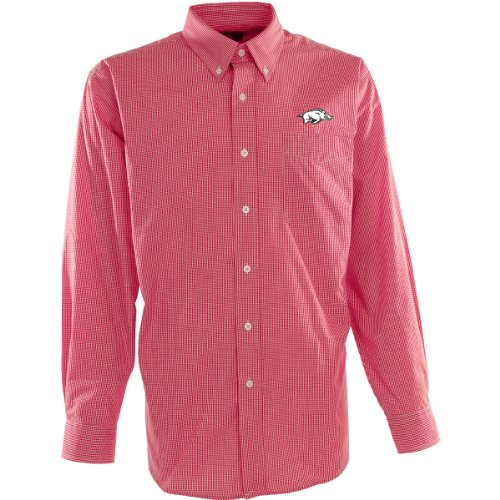 Antigua Men's Arkansas Razorbacks Focus Cotton/Polyester Woven Mini Check Button at Amazon.com