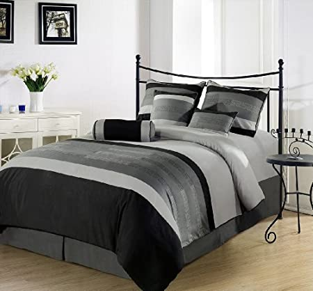 Chezmoi Collection 7 Pieces 3-Tone Black Gray Embroidery Comforter Set / Bed-in-a-bag Full or Double Size Bedding