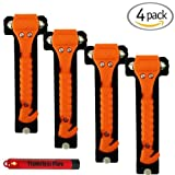 (4-Pack) Universal Emergency Hammer Window Punch & Seat Belt Cutter for Automotive Safety