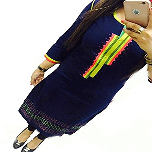 ZHot-Fahion-Womens-Embroidered-semi-stitched-Selfie-Kurti-In-Georgette-Fabric-ZHKRT1012Free-SizeBlue