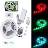 MONOCO 5M 5050-RGR-12VDC-Controllable Strip Tape,150leds RGB Strip Lights.IP22 LED FIexible Lights Dustproof,DIY RGB Tape Kit With 24 Key RGB Remote Controller, cULus Listed Certified,2-year warranty