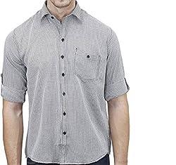 UNIXX Men's Casual Shirt (UXXS-12_Grey_40)