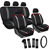 OxGord 17pc Set Flat Cloth Mesh / Red, Black & Gray Auto Seat Covers Set - Airbag Compatible - Front Low Back Buckets - 5 Head Rests - Universal Fit for Car, Truck, Suv, or Van - FREE Steering Wheel Cover