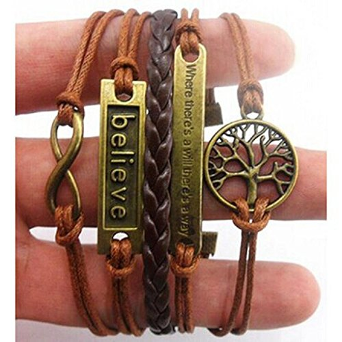 RIUDA Handmade Adjustable Tree For Life Believe Multilayer Bracelet Wristband (Cool Things Under 5 Dollars compare prices)