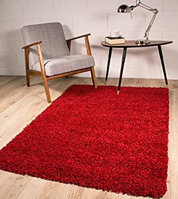 Ontario Soft Pile Anti Shedding Wine Red Shaggy Rug - Available in 14 Sizes