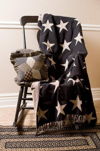 """Black Star 50X60"""" Jacquard Woven Throw Quilt front-460661"""