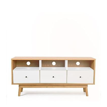 Meuble TV design scandinave 3 tiroirs Skoll - Couleur - Blanc