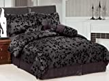 "7 Pieces Charcoal Grey with Black Velvet Floral Flocking Comforter (90""x92"" ...."