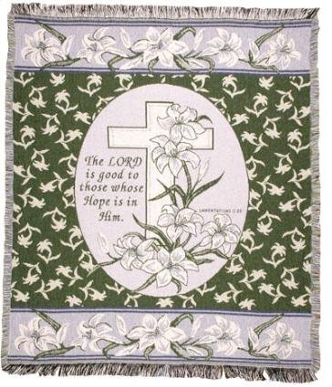 """The Lord Is Good"" Easter Lily Cross Afghan Throw Blanket 50"" X 60"" front-944364"