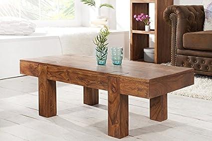 DuNord Design Couchtisch Beistelltisch SEMPAI 100cm Akazie Massivholz natur Wohnzimmertisch