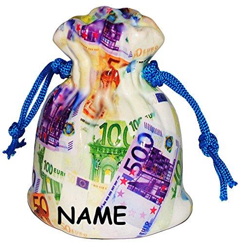 """große Spardose - """" Geldsack mit € Scheinen """" - incl. Namen - stabile Sparbüchse aus Kunstharz - Sack Schein Noten 100 Euro - Geld - Reisekasse / Kinder Mädchen & Jungen - Geldgeschenk - Urlaub - Notenbank - Sparschwein - lustig witzig"""