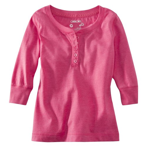 Cherokee® Girls' 3/4-Sleeve Button Up Tee - Pink S(6-6X)