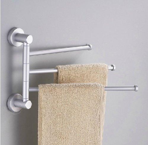 Towel Holder 3 Swivel Bars Aluminium Bath Rack Rail Bathroom Towel Rack (Towel Holder -1) front-764242