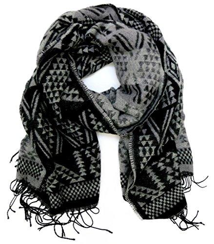 accessu-Echarpe-Foulard-pour-Femme-High-Fashion-Woven-Winter-Jacquard-Geometric-Ethno-Ikat-Design