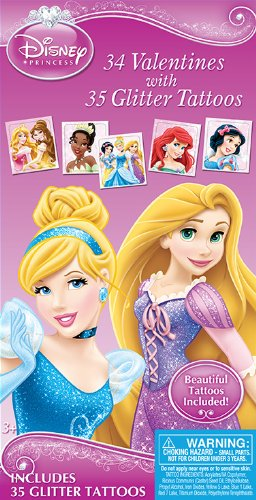 Paper Magic Disney Princess Deluxe Valentines with Bonus Tattoos (34 Count)