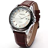 Orkina Mens White Dial Date Brown Leather Sport Quartz Wrist Watch Gift ORK080