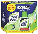 Liquid Paper Fast Dry Correction Fluid, 3 Pack(5643115)