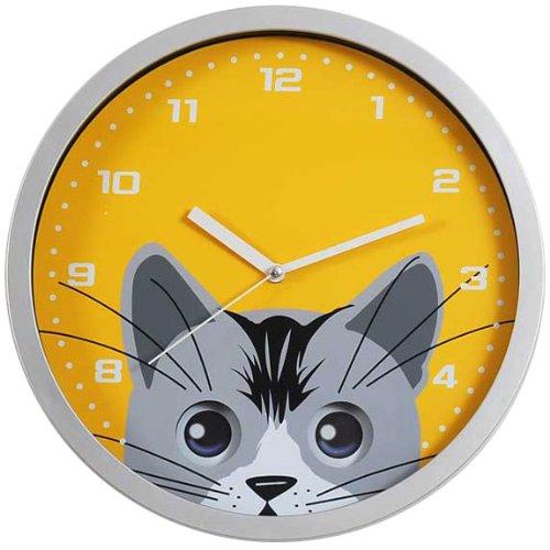 Cat Eye Pendulum Wall Clock in Silver Resin