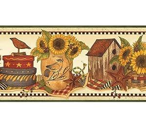 Sunflower Crocks Wallpaper Border