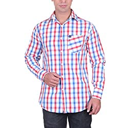 Cotblend Men's Casual Shirt (CB-CBN220-Red-S, Multi-Coloured, S)