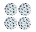 Set of 4 Red Cherries/ Blue Background Reusable Melamine Paper Plates-9