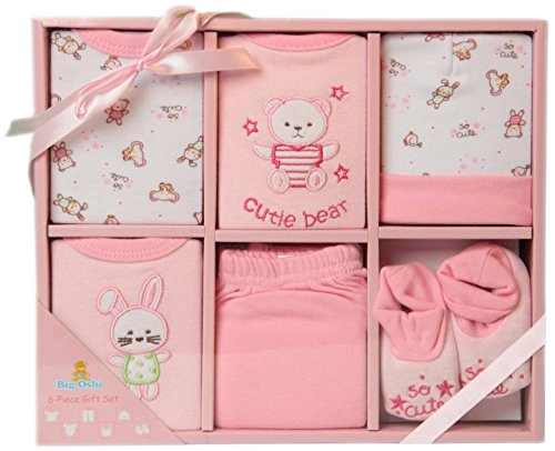 buy Big Oshi Baby Infants 6 Piece Layette Gift Set, Pink, 0-6 Months for sale