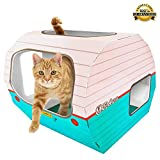 *FLASH SALE* Cardboard Cat House - The Kitty Camper Is The Perfect Playhouse, Cave, Condo or Pet Bed For Large & Small Animals - Just Add Toys or a Cozy Blanket & Feel Good About Leaving Your Kitten At Home-*FREE* EBook - Money Back Guarantee - RETRO