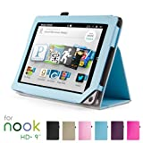 GMYLE(TM) Aqua Blue PU Leather Slim Folio Magnetic Flip Stand Case Cover with Wake Up Sleep Function for Barnes & Noble Nook HD+ Plus 9