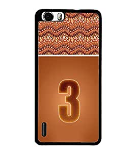 PrintDhaba Numerology Number 3 D-3635 Back Case Cover for HUAWEI HONOR 6 PLUS (Multi-Coloured)