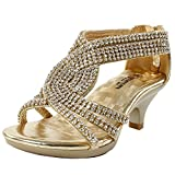 JJF Shoes Fabulous Angel-37K Little Girls Bling Rhinestone Platform Dress Heels Sandals,Gold,11