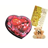 Skylofts Chocolate Valentine's Heart Box With A Cute Teddy & A Birthday Card