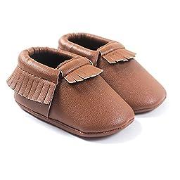 LIVEBOX Infant Baby Moccasins Soft Sole Anti-Slip Tassels Prewalker Toddler Shoes (2: 6~12 months, Coffee)