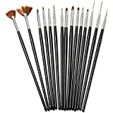 15Pcs Black Nail Art Acrylic UV Gel Design Brush Set (Color: Black)