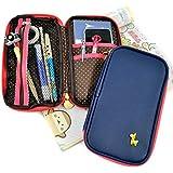 Giraffe Charm Pencil Case & Wallet - School Supplies for Kids & Teens - 20 Pen or Pencil Capacity (Navy Blue)
