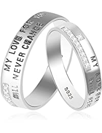Taraash 925 Sterling Silver CZ Promise Couple Band For Couples CBFRBX58I-06
