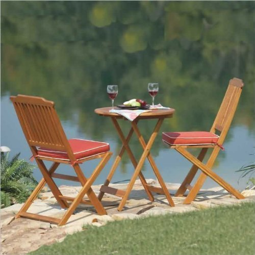 best buy outdoor interiors acacia 3 piece round bistro outdoor furniture set includes cushions. Black Bedroom Furniture Sets. Home Design Ideas